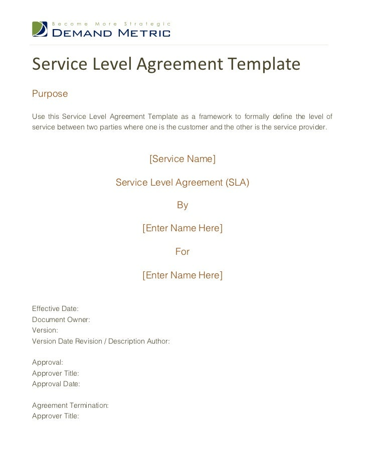 Service Level Agreement TemplatePurposeUse This Service Level Agreement  Template As A Framework To Formally Define The ...  Agreement For Services Template