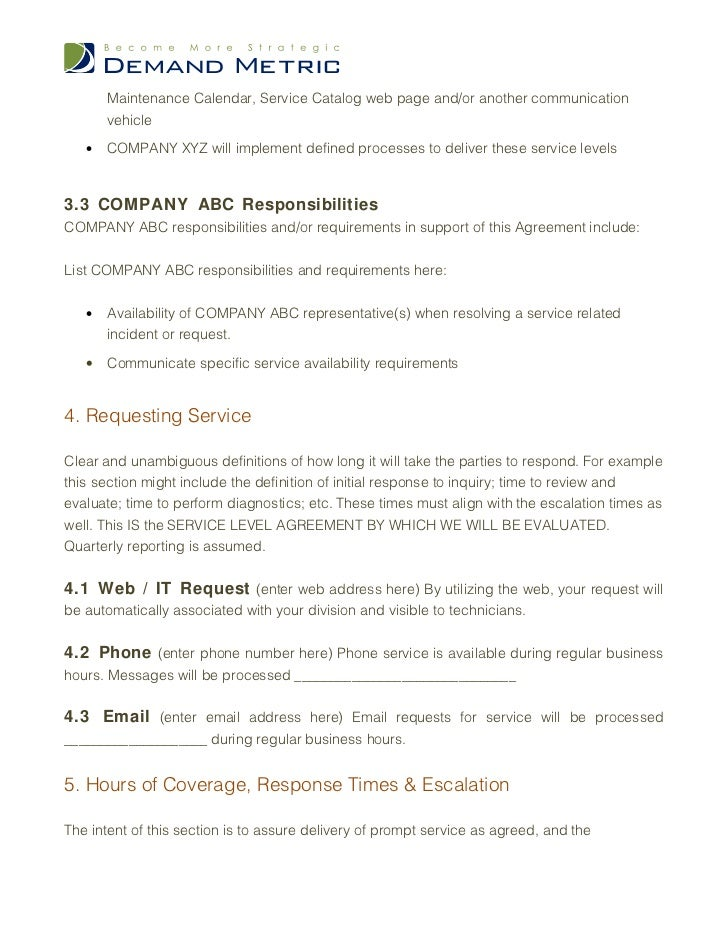 Service Level Agreement Template .