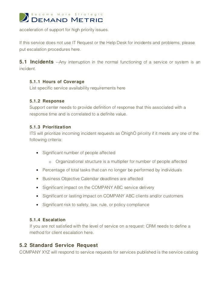 Service Level Agreement Template - Standard service contract template