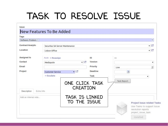 Task to resolve issue One click task creation Task is linked to the issue One click task creation Task is linked to the is...