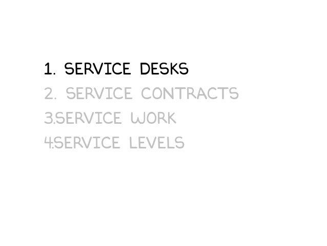 1. Service desks 2. Service Contracts 3.Service work 4.service Levels