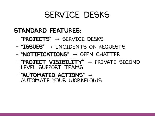 """Service Desks Standard features: – """"Projects"""" Service DeskS→ – """"Issues"""" Incidents or Requests→ – """"Notifications"""" Open Chat..."""