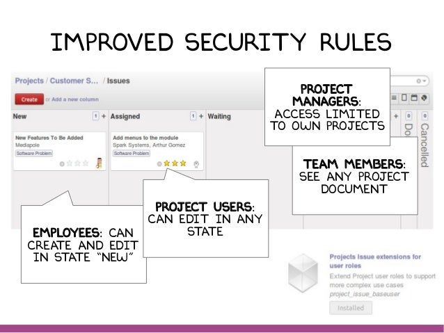 """Improved security RULES EMPLOYEES: can create and edit in state """"new"""" TEAM MEMBERS: SEE any PROJECT document Project manag..."""