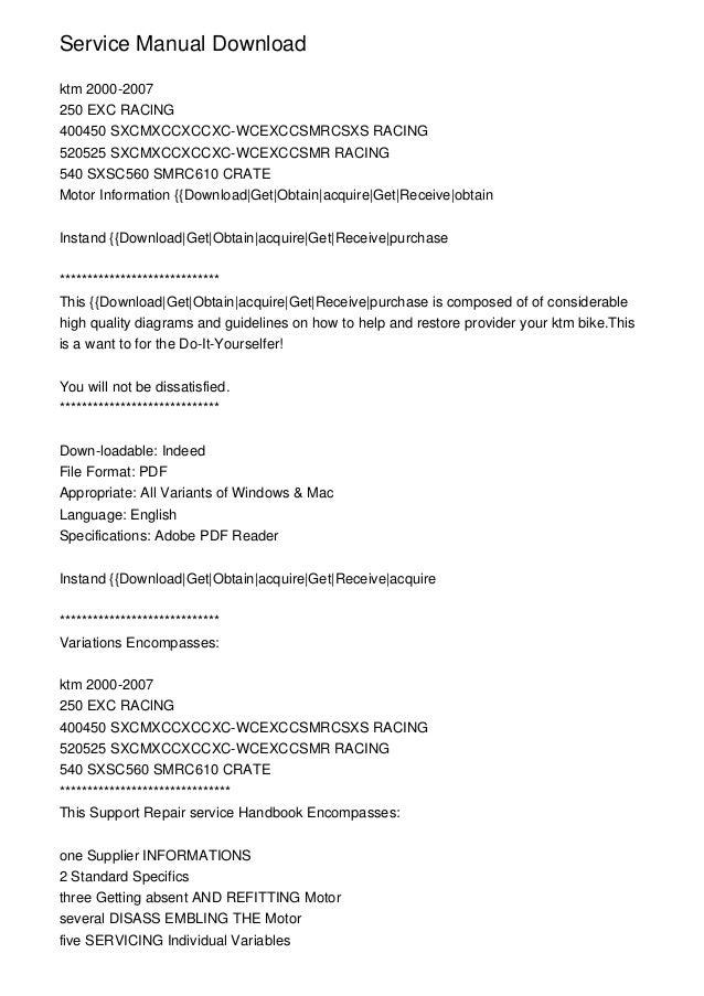 ktm 250 exc 2000 2007 workshop repair service manual pdf