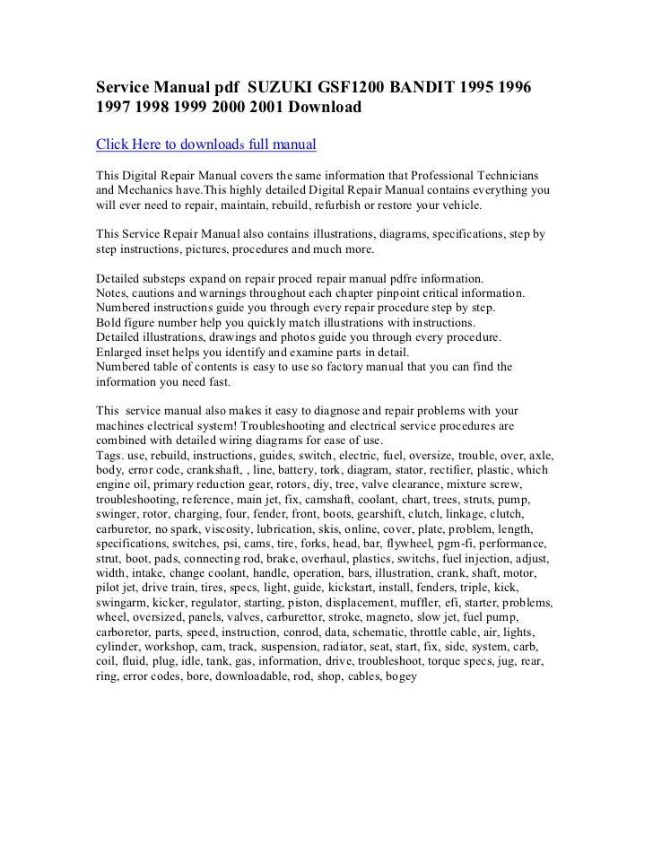 service manual pdf suzuki gsf1200 bandit 1995 1996 1997 1998 1999 20 rh slideshare net suzuki gsf 1250 bandit service manual suzuki bandit 600 service manual