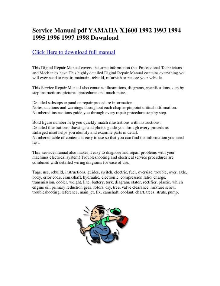 service manual pdf yamaha xj600 1992 1993 1994 1995 1996 1997 1998 do rh slideshare net Yamaha XJ600 Parts Yamaha XJ600 Parts