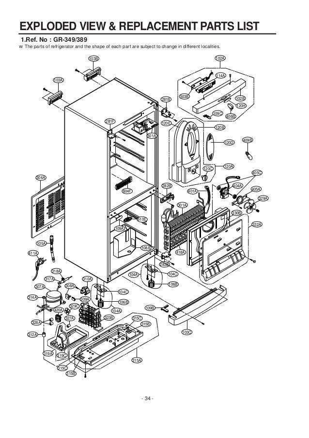 service manuals lg fridge gr349sqf gr 349sqf service manual LG Refrigerator Light Bulb 33 34 w the parts of refrigerator