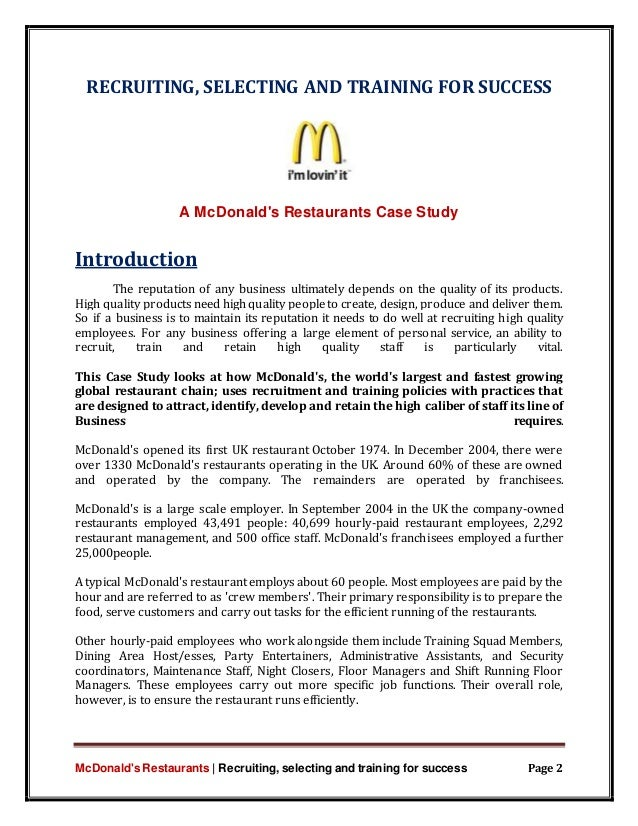 The story about mcdonalds essay