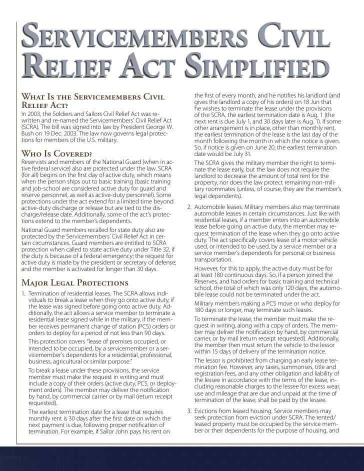 Servicemembers Civil Relief Act Simplified