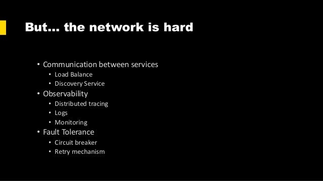 But… the network is hard • Communication between services • Load Balance • Discovery Service • Observability • Distributed...