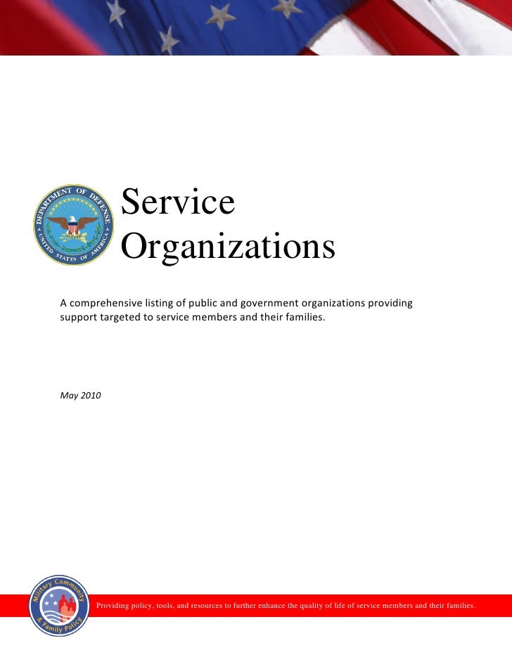 Service               Organizations A comprehensive listing of public and government organizations providing support targe...