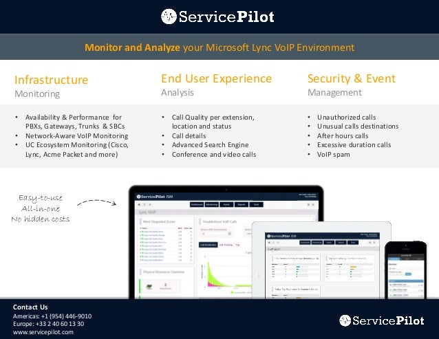 Monitor and Analyze your Microsoft Lync VoIP Environment  Infrastructure  End User Experience  Security & Event  Monitorin...
