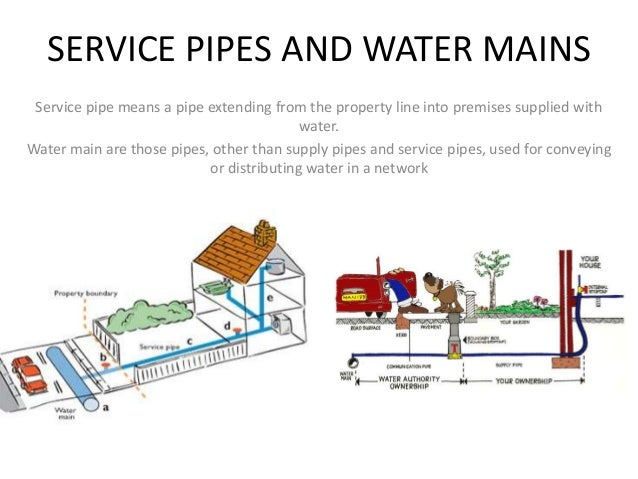 SERVICE PIPES AND WATER MAINS Service pipe means a pipe extending from the property line into ...  sc 1 st  SlideShare & Service pipes and water mains