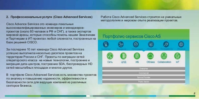 8 2. Профессиональные услуги (Cisco Advanced Services) Cisco Advance Services это команда локальных высококвалифицированны...