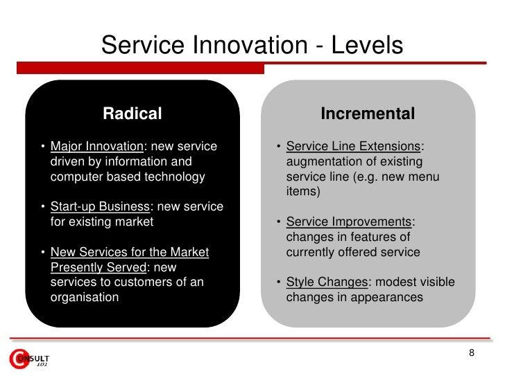 Service Innovation - Levels<br />8<br />Radical<br /><ul><li>Major Innovation: new service driven by information and compu...