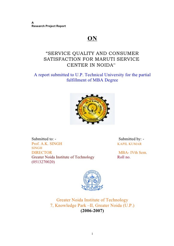 """AResearch Project Report                                ON         """"SERVICE QUALITY AND CONSUMER        SATISFACTION FOR M..."""