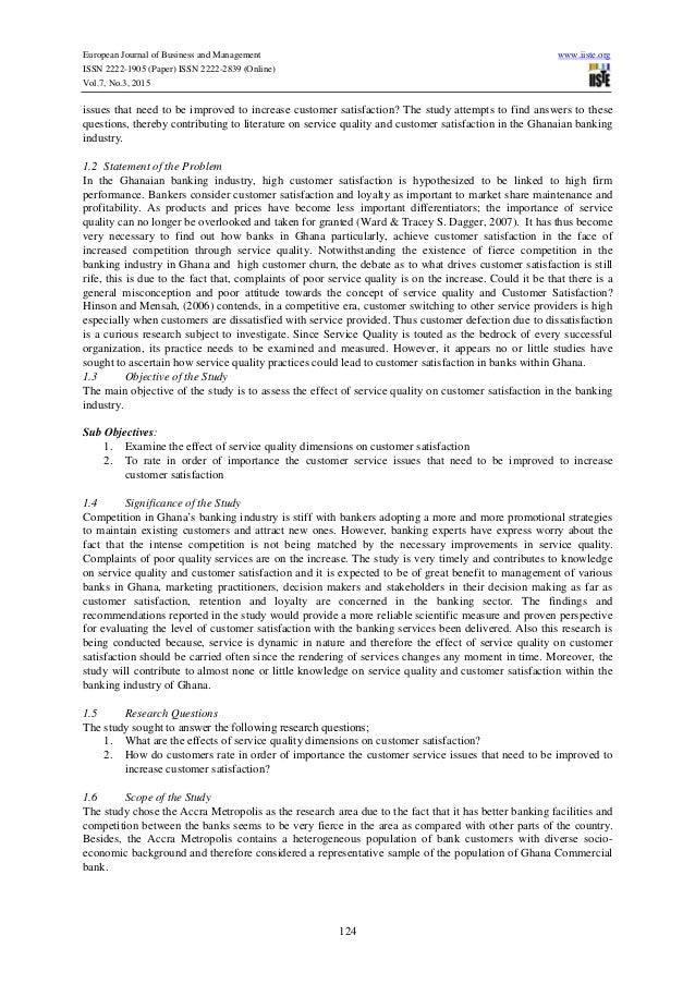 Research paper on customer satisfaction in banks