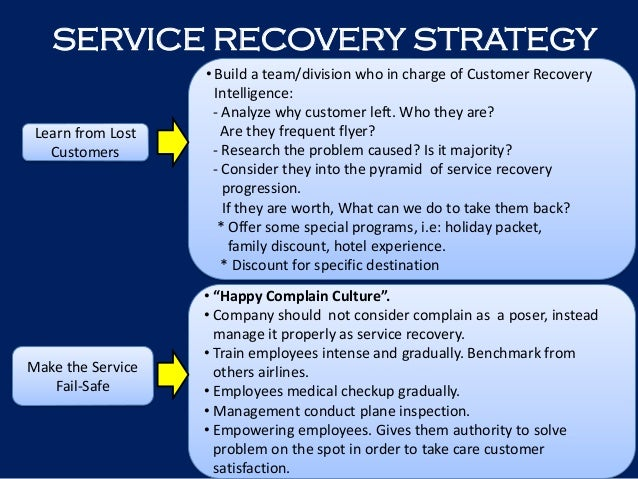 companys recovery strategy after service failures How to match the recovery strategy to the failure 437  immediately identified  and addressed, or after the service so that systems can be updated,  for one  thing, it gives the company the chance to make an unhappy guest happy the or.