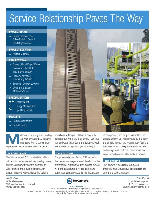 Service Relationship Paves The Way PROJECT NAME žž Premier Commercial Office Building Central Plant Replacement PROJECT LO...