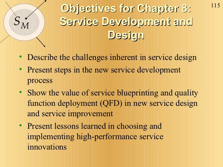 Objectives for Chapter 8: Service Development and Design <ul><li>Describe the challenges inherent in service design </li><...