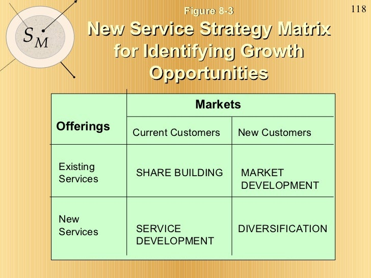 Figure 8-3 New Service Strategy Matrix for Identifying Growth Opportunities Markets Offerings Existing Services New Servic...