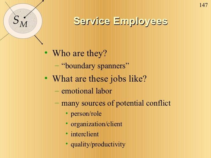 "Service Employees <ul><li>Who are they? </li></ul><ul><ul><li>""boundary spanners"" </li></ul></ul><ul><li>What are these jo..."