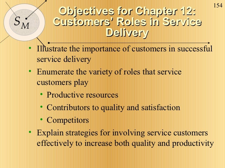 Objectives for Chapter 12: Customers' Roles in Service Delivery <ul><li>Illustrate the importance of customers in successf...