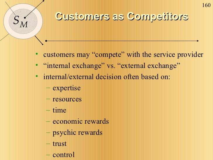 "Customers as Competitors <ul><li>customers may ""compete"" with the service provider </li></ul><ul><li>"" internal exchange"" ..."