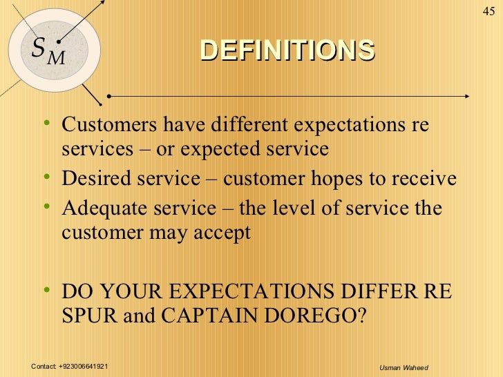 DEFINITIONS <ul><li>Customers have different expectations re services – or expected service </li></ul><ul><li>Desired serv...