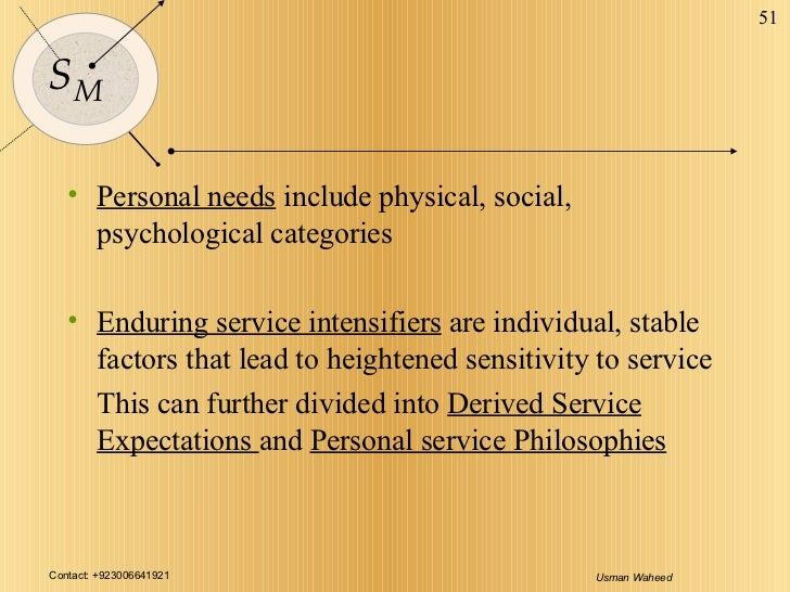 <ul><li>Personal needs  include physical, social, psychological categories </li></ul><ul><li>Enduring service intensifiers...