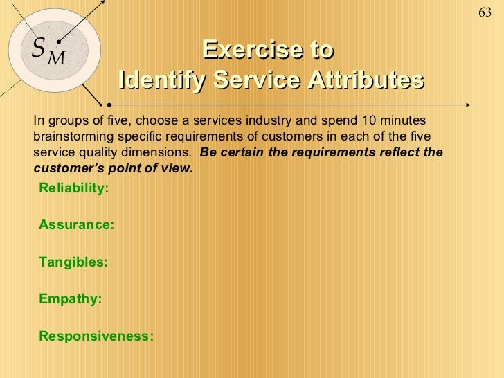 Exercise to  Identify Service Attributes In groups of five, choose a services industry and spend 10 minutes brainstorming ...