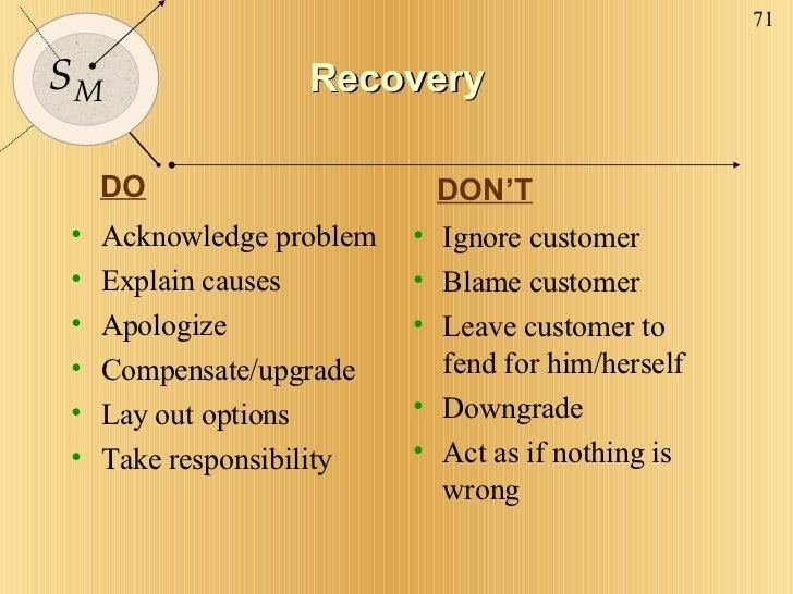 Recovery <ul><li>Acknowledge problem </li></ul><ul><li>Explain causes </li></ul><ul><li>Apologize </li></ul><ul><li>Compen...