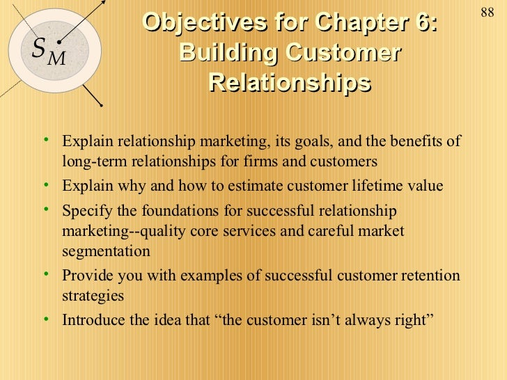 Objectives for Chapter 6: Building Customer Relationships <ul><li>Explain relationship marketing, its goals, and the benef...