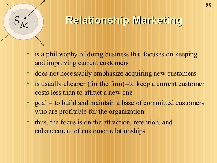 Relationship Marketing <ul><li>is a philosophy of doing business that focuses on keeping and improving current customers <...