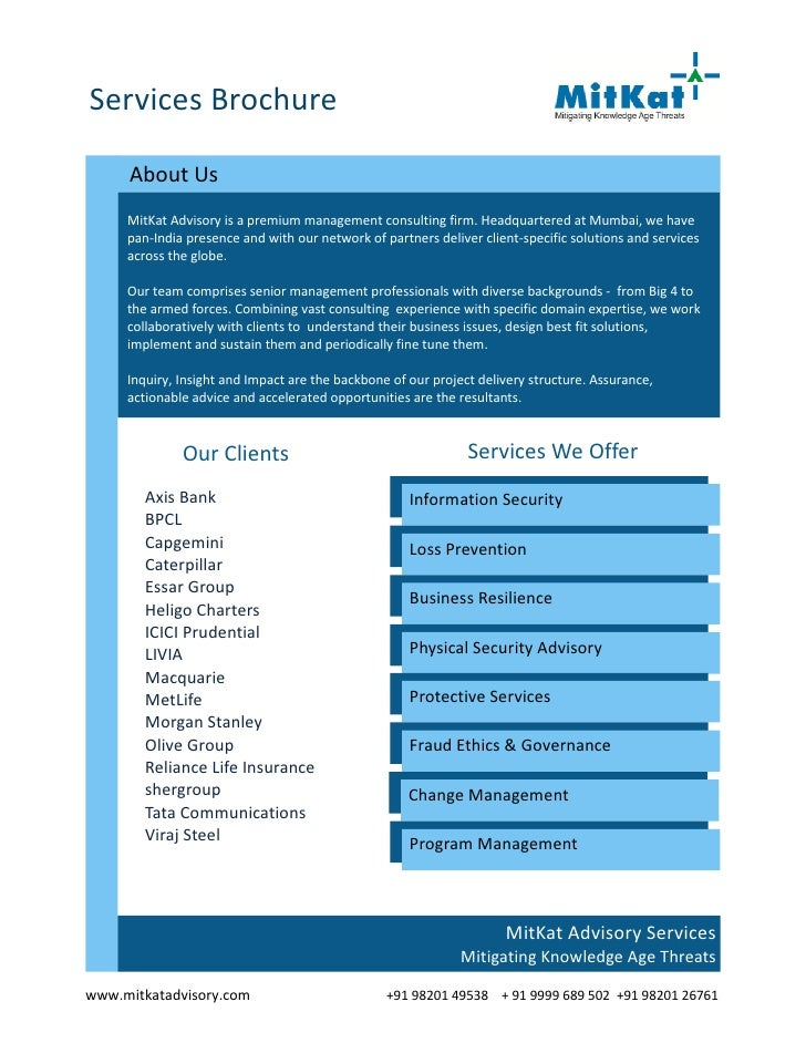 Services Brochure     About Us     MitKat Advisory is a premium management consulting firm. Headquartered at Mumbai, we ha...
