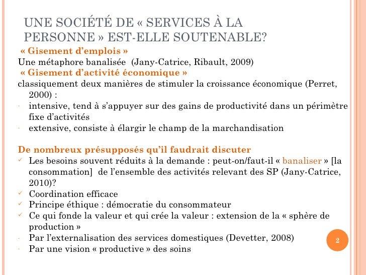 """Florence Jany-Catrice """"Services à la personne et indicateurs de bien être""""  Slide 2"""