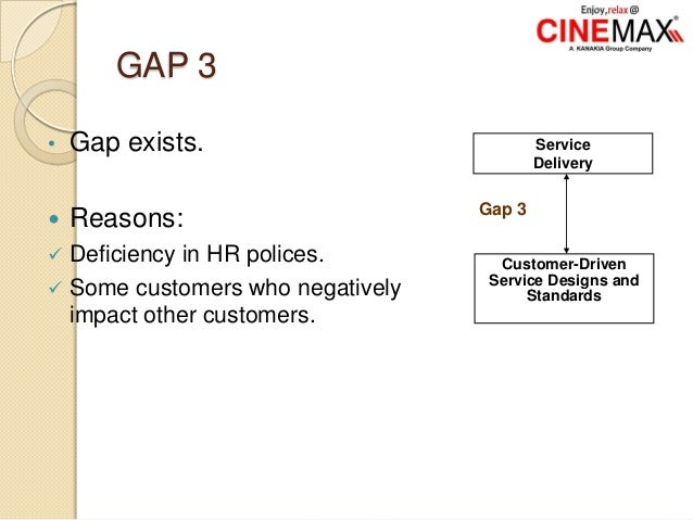 GAP 3 • Gap exists.  Reasons:  Deficiency in HR polices.  Some customers who negatively impact other customers. Service...