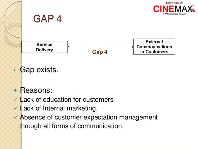 GAP 4 • Gap exists.  Reasons:  Lack of education for customers  Lack of Internal marketing.  Absence of customer expec...