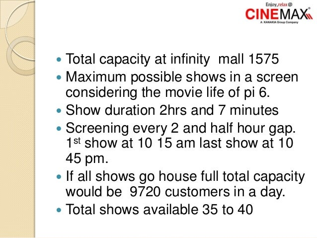  Total capacity at infinity mall 1575  Maximum possible shows in a screen considering the movie life of pi 6.  Show dur...