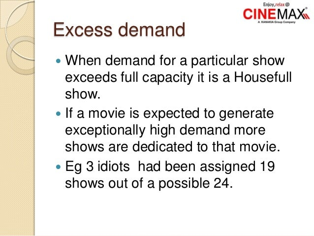 Excess demand  When demand for a particular show exceeds full capacity it is a Housefull show.  If a movie is expected t...