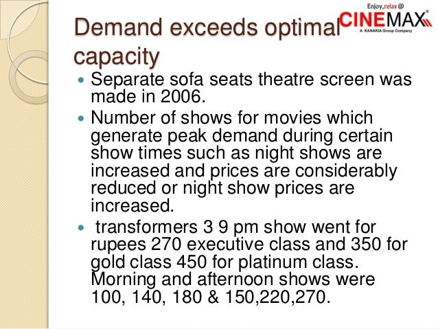 Demand exceeds optimal capacity  Separate sofa seats theatre screen was made in 2006.  Number of shows for movies which ...
