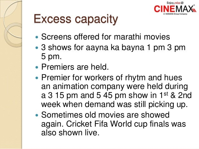 Excess capacity  Screens offered for marathi movies  3 shows for aayna ka bayna 1 pm 3 pm 5 pm.  Premiers are held.  P...