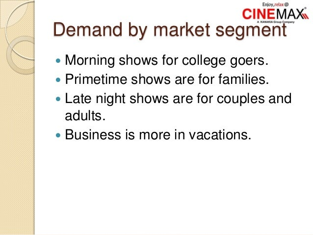 Demand by market segment  Morning shows for college goers.  Primetime shows are for families.  Late night shows are for...