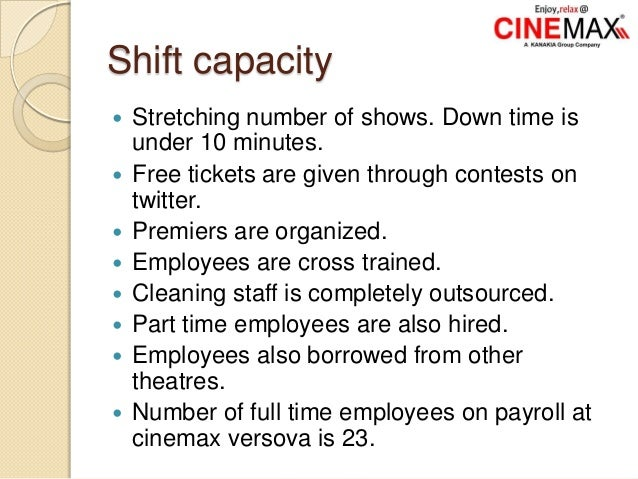 Shift capacity  Stretching number of shows. Down time is under 10 minutes.  Free tickets are given through contests on t...