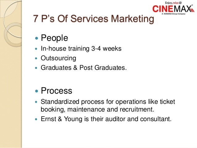 7 P's Of Services Marketing  People  In-house training 3-4 weeks  Outsourcing  Graduates & Post Graduates.  Process ...