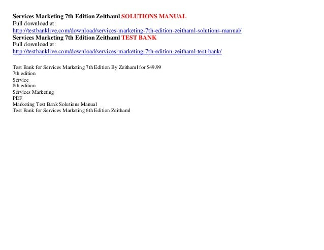 Services marketing 7th edition zeithaml solutions manual services marketing 7th edition fandeluxe Image collections