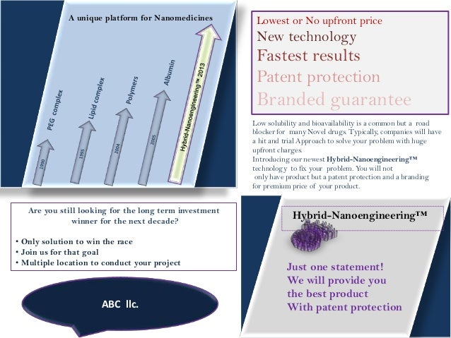 A unique platform for Nanomedicines  Lowest or No upfront price  New technology  Fastest results Patent protection  Brande...