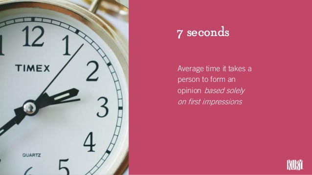 7 seconds Average time it takes a person to form an opinion based solely on first impressions