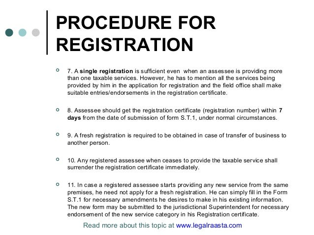 Service tax registration in india by legal raasta