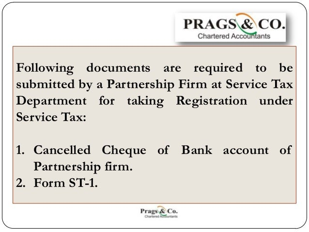 Service Tax Registration Documents Required By Partnership